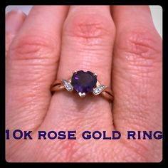 10k Rose Gold Amethyst Diamond Ring This is a beautiful 10k solid rose gold Amethyst heart ring with diamonds. Size 7. Marked inside band is 10K STS. This is a stunning rose gold ring! Also the ring is in near new condition only wore a couple days. I love rose gold jewelry but I mostly wear Sterling & White gold is why I'm selling. This would make a great gift for someone special or if their birthstone is February for Amethyst & Valentine's Day is not far off! Thanks for looking! Make…