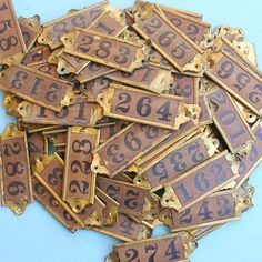 steampunk mailbox: for the numbers      3 Vintage Brass Number Tags Brass Numbered Tags by timepassages, $10.00