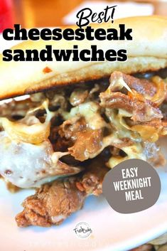 This Best Cheesesteak recipe is made with tender thin steak, caramelized onions, simmered ever so quickly in an amazing sauce, then smothered in melted cheese and served on a toasted hoagie roll. Grab the ultimate cheesesteak recipe via @thefreshcooky | #cheesesteak #phillycheesesteak #phillycheesesteakrecipe #beef #ribeyesteak #sandwichrecipes #easydinnerrecipes #easydinner #30minutemeal #easydinnerideas via @thefreshcooky Dinner Recipes Easy Quick, Easy Weeknight Meals, Wrap Recipes, Beef Recipes, Game Recipes, Drink Recipes, Recipies, Slider Sandwiches, Steak Sandwiches