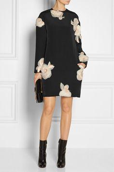 #Lanvin Floral-appliquéd faille tunic dress