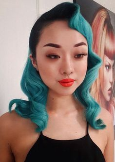 Turquoise blue dyed hair