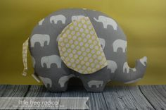 Mod Basics Elephant   Large Softie grey yellow nursery decor  by LittleFreeRadical on Etsy, $35.00