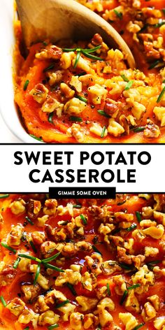 This savory sweet potato casserole recipe is easy to make, made with healthier ingredients, and topped with the most irresistible maple rosemary walnut topping! Savory Sweet Potato Casserole Recipe, Gimme Some Oven, Tomato Chutney, Vegetable Sides, Side Dishes, Glutenfree, Potatoes, Stuffed Peppers, Cooking
