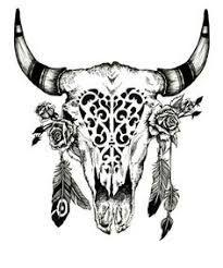 Image result for outline longhorn skull tattoo women