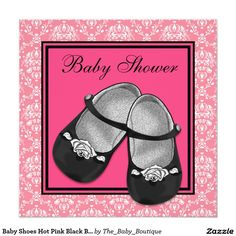 Baby Shoes Hot Pink Black Baby Shower Invitations