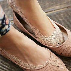NE Women Ladies Cotton Lace Antiskid Invisible Liner No Show Peds Low Cut Socks