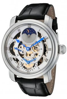 Rougois RG305SS Silver Moonphase Automatic Skeleton Watch For Men