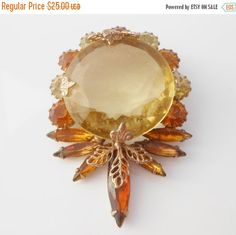 Amber Citrine Faceted Glass Rhinestone Brooch by Libbysmomsvintage
