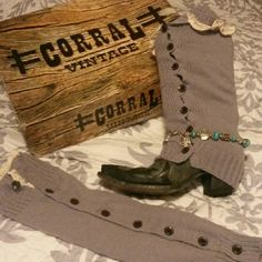 Boot covers Gray boot covers. with ivery colored lace work on top with additional buttons all the way down side. Accessories Hosiery & Socks