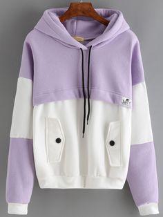 Sweat-shirt+avec+capuche+et+cordon+et+poches+couleur+bloc++13.26