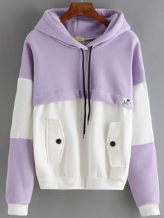 Color-block Hooded Drawstring Sweatshirt With Pocket 13.67
