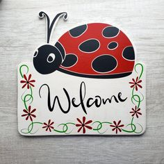 Sign Ladybug  Sign Everyday Sign Wreath Sign Summer Sign Welcome Home Ladybug Metal Wreath Sign Welcome Home Sign