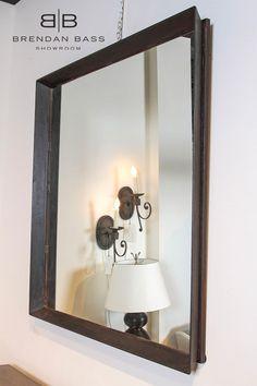 industrial iron large wall mirror 48x48 designer brendan bass