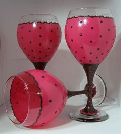 Pink and Chocolate hand painted wine glasses