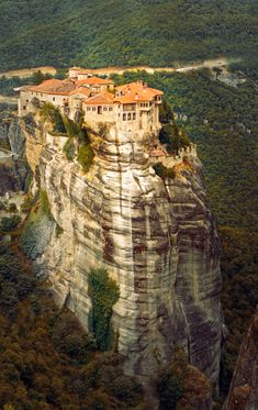 This is a picture of one of the famous monasteries in Meteora (Greece). All of those monasteries are build on top of mountains in this region. Incredible.