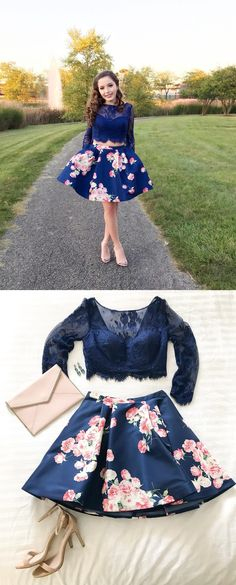 two piece short prom dress homecoming dress, 2018 short prom dress homecoming dress, long sleeves navy blue floral prom dress
