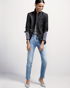 J.Crew women's Regent blazer, striped boatneck T-shirt in thick cotton, slim broken-in boyfriend jean in Monterey wash, opera-length pearl necklace and Sloan plaid d'Orsay flats with bow.