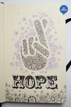 """""""Hope"""", gribouillage de Lex Wilson dans son carnet Moleskine"""