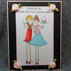 ONECRAZYSTAMPER.COM: Friends Like You... by Shari using Stamping Bella - Uptown Girls Felicity & Blair EB211