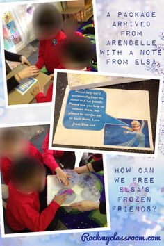 A packages arrives from Arendelle. Elsa needs the children's help. She has accidentally frozen her sister and friends. Could alter this to a superhero theme. Frozen Activities, Eyfs Activities, Science Activities, Classroom Activities, Children Activities, Early Years Topics, Early Years Maths, Frozen Classroom, Superhero Classroom