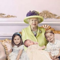 Queen Elizabeth II with Prince George, Princess Charlotte and Prince Louis after Prince Louis' Christening.