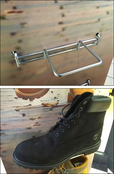 TimberLand® Corrugated Boot Tray – Fixtures Close Up Boot Tray, Store Design, Timberland Boots, Combat Boots, Grid, Hooks, Retail, Shoe, Display