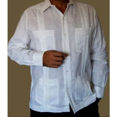 "This is the true  guayabera (the Original) Without embroidery, with pleats, long sleeves and buttons. Only for men. The guayabera of our ancestors and our ""mambises."""