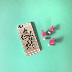 The struggle is real but cute phone cases always help. And little pink Christmas trees duh. Shop the full G&B collection with @casetify at but.ly/gabphone now  #casetify #thestruggleisreal by glitterandbold