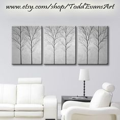 """Wall Art Canvas Art Home Decor Tree Painting Bedroom Wall Decor Home & Living Room Original Large Paintings Grey Gray Black White 48""""x20"""" (149.00 USD) by ToddEvansArt"""