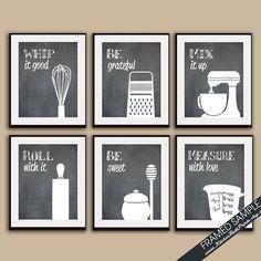 Impresión del arte gracioso cocina conjunto (batidor, rallador, mezclador, Pin, miel, taza medidora del balanceo) Set de 6 a 8 x 10 Art Print (recomendados en pizarra)