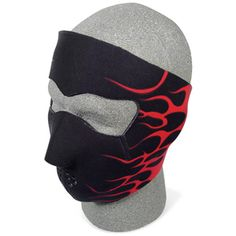 Click to view larger image  Have one to sell? Sell it yourself  BLACK W/RED FLAMES NEOPRENE COLD WEATHER FULL FACE MASK