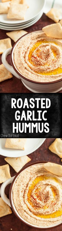 Roasted Garlic Hummus. Clean, healthy, guiltless snacking. Perfect for game days and afternoon munchies. #vegan #glutenfree
