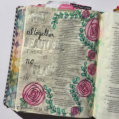 Bible journaling, Song of Solomon 4:7 — Arden Ratcliff-Mann #illustratedfaith