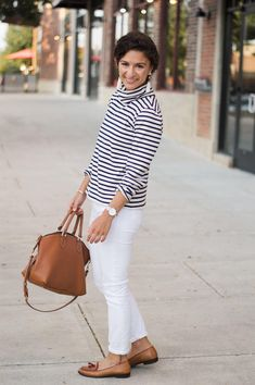 Striped Blouse and white denim for fall Tassel Loafers, White Denim, Fashion Photo, Personal Style, Lifestyle, Blouse, My Style, Fall, Pants