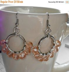 ON SALE Peach Fire Polished Czech Rondelle Beaded, Wire Wrapped Split Ring, Dangle Half Hoop Earrings, Perfect Gift for Her by HandmadebyJulesnkc on Etsy https://www.etsy.com/listing/208619388/on-sale-peach-fire-polished-czech
