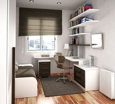 Modern teen desk ideas – teen bedroom furniture and room decor - Decoration 2 Small Teen Room, Small Rooms, Small Spaces, Teen Rooms, Kids Rooms, Small Room Design Bedroom, Study Room Design, Narrow Bedroom, Home Office Design