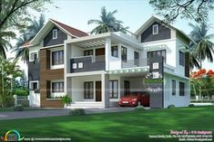 modern house front balcony with simple house wall paint and wooden entrance door. Front Elevation Designs, House Elevation, House Front Design, Modern House Design, Home Wall Painting, Front House Landscaping, Australia House, Paint Your House, Kerala House Design