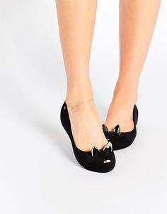 Buy Melissa Ultragirl Black Cat Flat Shoes at ASOS. Get the latest trends with ASOS now. Cat Flats, Cat Shoes, Suede Flats, Pretty Shoes, Beautiful Shoes, Pumps, Heels, Asos, Melissa Shoes