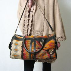 SOUTHWEST KILIM and leather duffel travel bag