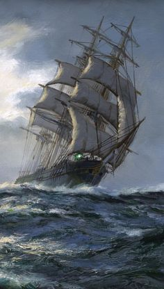 Love the tall ships Stürmische See, Old Sailing Ships, Ship Paintings, Wooden Ship, Sail Away, Ship Art, Tall Ships, Water Crafts, Scenery