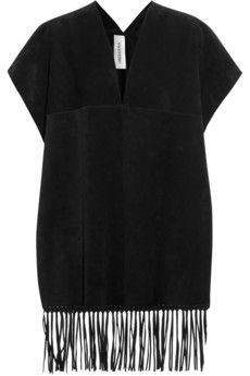 Valentino Fringed suede cape coverup | NET-A-PORTER