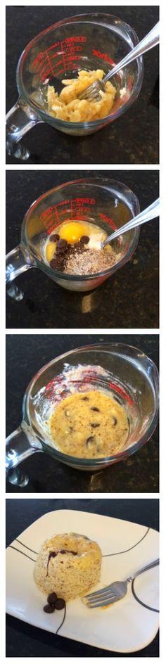 HEALTHY BANANA CHOCOLATE CHIP MICROWAVE MUFFIN RECIPE