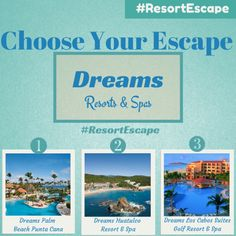 """YOU DECIDE  """"Choose Your Escape"""" Learn How We Can Win A Dream Vacation #ResortEscape"""