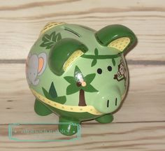 SMALL Jungle babies artisan hand painted ceramic Piggy bank by Alphadorable, $54.00