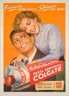 Old advertisement of Colgate toothpaste Publicidad antigua pasta de dientes Pin Up Vintage, Pub Vintage, Vintage Labels, Vintage Signs, Vintage Images, Vintage Italian Posters, Vintage Advertising Posters, Old Advertisements, Vintage Artwork