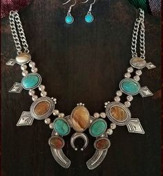 COWGIRL Bling Jasper Unakite SQUASH BLOSSOM  Western SILVER TONE NECKLACE set #Unbranded