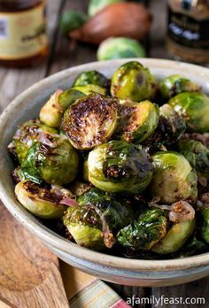 Oven Roasted Brussels Sprouts with Mustard and Shallots - A simple and fantastic. - A Family Feast Recipes - Roasted Brussel Sprouts Bacon, Brussel Sprout Salad, Sprouts With Bacon, Brussels Sprouts, Roasted Shallots, Roasted Bacon, Roasted Beets, Vegetable Side Dishes, Vegetable Recipes