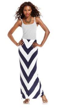 Kensie Chevron-Striped Maxi Skirt