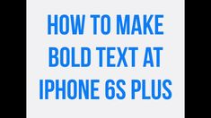 Learn how you can enable or disable bold text on the iPhone 6 Plus. This video will teach you how to make bold text on iPhone or iPad running iOS 6s Plus, Ios, Iphone 6, Teaching, Running, How To Make, Racing, Keep Running, Jogging