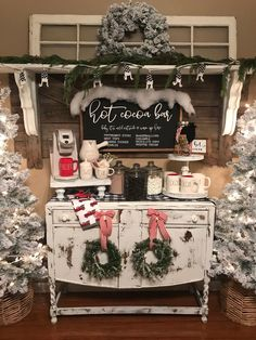 shop: Hot cocoa bar sign, Christmas sign, winter sign, valentine sign, gift Excited to share this item from my Christmas Fireplace, Farmhouse Christmas Decor, Rustic Christmas, White Christmas, Christmas Fun, Vintage Christmas, Holiday Decor, Christmas Staircase, Hobby Lobby Christmas